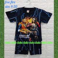SHAKO Baju Kaos Stelan Karakter Free Fire Pakaian Anak Laki-Laki