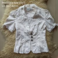 MaxMara italy size L blazer / atasan wanita putih preloved original