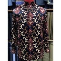 Baju Batik Pria lengan panjang bahan sutra halus tidak mudah kusut