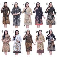Baju Atasan Wanita / Tunik Double Bird Brown / Blous Batik Kantor