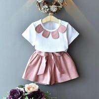 Setelan Set Baju Kaos Anak Perempuan Kekinian lucu usia 1 2 3 4 tahun