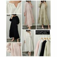 Baju Dress Katun Poplin / Fashion Babydoll Zipper Gamis Polos Wanita T