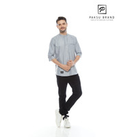 Baju Kemeja Koko Kemko Couple Wanita Pria Muslim Premium Polos Dewasa - Abu-abu, S