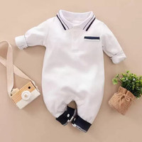 Jumper bayi lengan panjang putih 0-2 tahun baju bayi import unisex