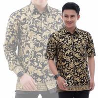Kemeja Batik Pria Baju Batik Motif Bakung Kembang Gede Prada Emas