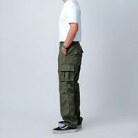 Loosey Goosey | Long Cargo Pants | Ripstop | Loose Cut |Green Army