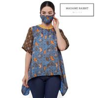 Baju Batik Kantor Madame Rabbit Celeste Lengan Pendek Silk Halus - S