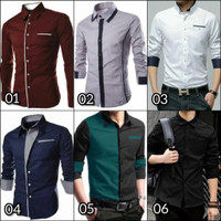 Kemeja kerja pria | Baju cowok kantor | Hem lengan panjang polos murah