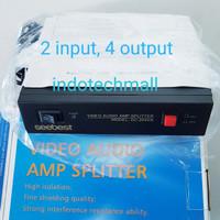 Av distributor audio video splitter 2 input 4 output
