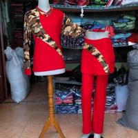 baju senam wanita terbaru setelan merah army bahan full katun super - L