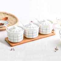 Tempat Bumbu Keramik wooden tray motif garis kotak