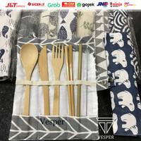 Paket alat makan bambu sendok garpu sedotan bambu / bamboo straw set