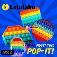 Mainan Bubble Pop It Bahan Silikon Warna Pelangi Untuk Penghilang Stre
