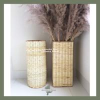 Vas Rotan Anyaman Bambu Asli cocok untuk Dekorasi Pampas/Bunga Kering