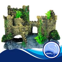 Hiasan Aquarium Aquascape Kastil Benteng Tembok Rusak Uk. XL 7188B