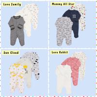 Sleepsuit 3 in 1 Bayi Jumper Panjang Bayi Newborn Jumpsuit Bayi Impor - Pink Bear, 3 -6 Bulan