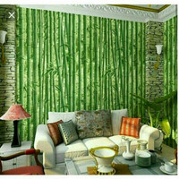 Jual wallpaper sticker dinding Bambu Daun Hijau Tua