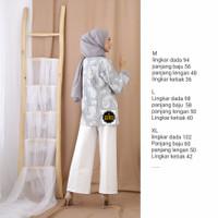 Blouse Batik Wanita Moderen Atasan Kerja kekinian - grey bolero, M