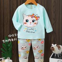 Piyama / Baju tidur anak import motif kucing umur 1 - 10 tahun.