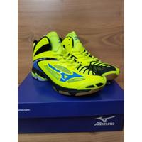 Sepatu Volly Mizuno wave lightning Premium Original / Pria Blue Orange