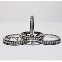 Cincin Titanium Mata Berlian 3MM Wanita Silver [ Real Pict ] - 16