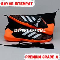 Sepatu Spatu Futsal Putsal Adidas Predator Ori Original Pria Murah - Hitam Orange, 39