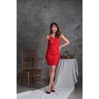 Mini Dress Sexy   Dres Bodycon   Baju Pakaian Cewek Seksi Wanita 0051 - Merah