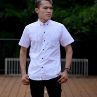 baju kemeja pria lengan pendek putih polos premium