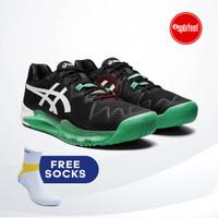 Asics Gel Resolution 8 Tennis Shoes / Sepatu Tenis Black Green Gecko