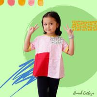 Baju Atasan Batik Anak Perempuan Lotus Series Pink motif Kawung
