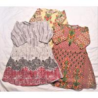 baju atasan gamis tunik muslim anak perempuan cewek motif bunga murah