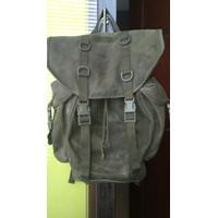 Tas Vintage Cold War German Mountain Backpack Canvas Bag Army Green