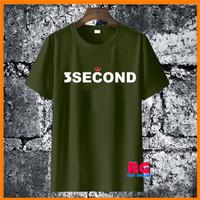 Baju Kaos Wanita Pria - Kaos 3Second Non Original Hijau Army S M L XL - S