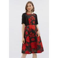 RED BLACK JACQUARD DRESS RED BLACK