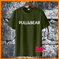 Baju Kaos Wanita Pria - Kaos Pull Bear Warna Hijau Army Katun S M L XL - S