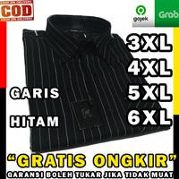 kemeja baju hitam pria jumbo big size 3xl 4xl 5xl 6xl 7xl ventt garis - 5XL
