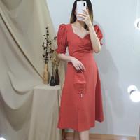 Dress Terusan Casual Wanita Premium - Vanya Slit Dress NWclothing - Blue Mint