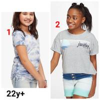 Baju kaos pendek anak perempuan branded original Justice 22 tahun plus