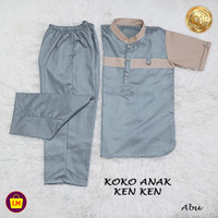 Stelan Koko Anak KENKEN Stelan Jubah anak Koko Trendy Baju Lebaran - Abu-abu, XS (2-4 tahun)
