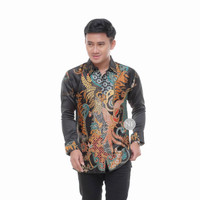 baju kemeja batik pria silky semi sutra lengan panjang artha46