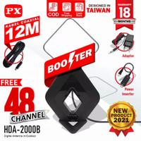 PX HDA-2000 ANTENNA TV DIGITAL ANALOG INDOOR OUTDOOR BOOSTER+KABEL 12M - Hitam