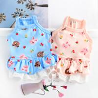 Petpaw Baju Anjing Kucing Bear Cherry Dress Couple Set Premium Import