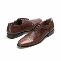 Sepatu Bally Tali Coklat Kulit Asli Pantofel Pria Formal Kerja Kantor - Cokelat, 38