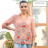 Baju Atasan Wanita Madame Rabbit Kebaya Pesta Pink Bordir Handmade - S
