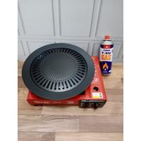 Paket bbq kompor portable + grillpan + 1 tabung gas