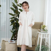 Morocco Dress Beatrice Clothing - Midi Dress Wanita - White