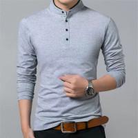 T-shirt Pria Lengan Panjang Leher Sanghai