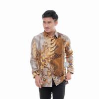 baju kemeja batik pria silky semi sutra lengan panjang terbaru artha44