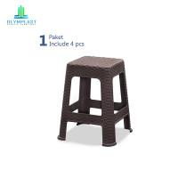 Olymplast Kursi Bakso Motif Rattan Square Chair