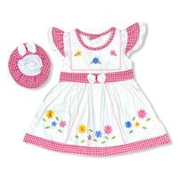 Baju Dress Bayi Perempuan Katun 6-12 Bulan Motif Kembang Pita Pinggang